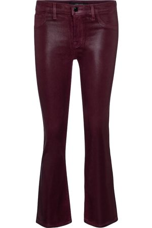 J Brand Selena coated bootcut cropped jeans