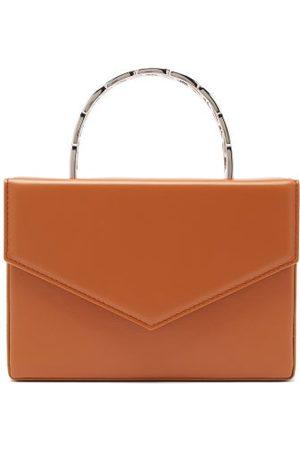 Amina Muaddi Pernille Envelope-flap Leather Box Bag - Womens - Camel