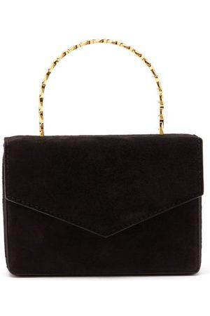 Amina Muaddi Pernille Crystal-handle Mini Suede Box Bag - Womens