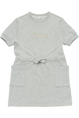 Chloé Embroidered Cotton Blend Sweat Dress
