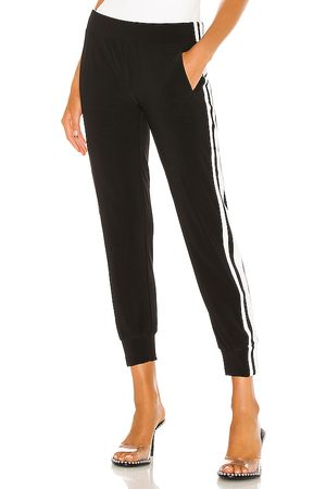Norma Kamali Side Stripe Jog Pant in Black.