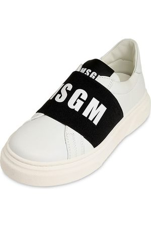 Msgm Leather Slip-on Sneakers W/ Logo Band