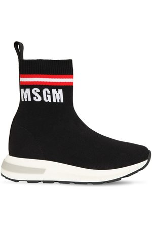 Msgm Logo Slip-on Knit Sock Sneakers