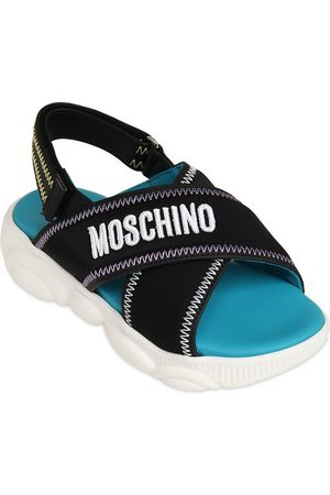 Moschino Embroidered Webbing Sandals W/ Logo