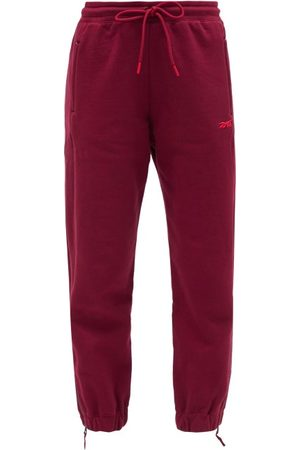 Reebok Women Sweatpants - Drawstring-waist Cotton Track Pants - Womens - Burgundy
