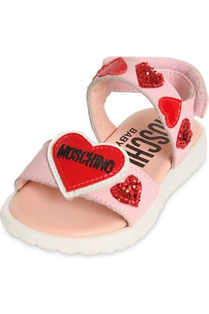 Moschino Leather Sandals W/ Hearts