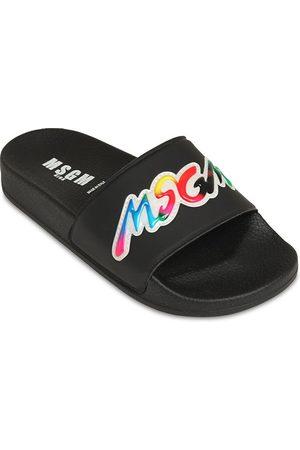 Msgm Logo Printed Slide Sandals