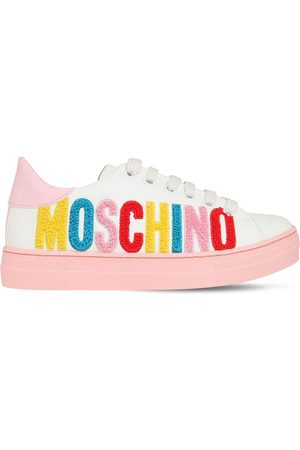 Moschino Teddy Logo Lace-up Leather Sneakers
