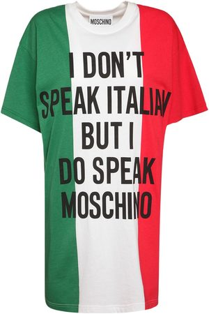 Moschino Logo Printed Italian Slogan Jersey Dress
