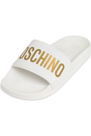 Moschino Logo Printed Rubber Slide Sandals