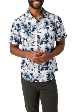7 Diamonds Men's Cosmic Dancer Trim Fit Floral Short Sleeve Button-Up Shirt