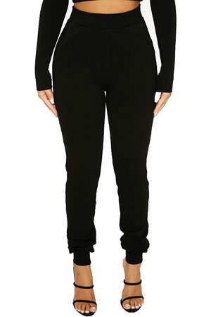 Naked Wardrobe Women's Snatched High Waist Ribbed Joggers