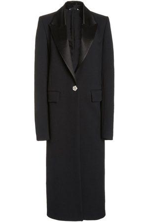 Marina Moscone Satin-Trimmed Wool-Crepe Tuxedo Coat