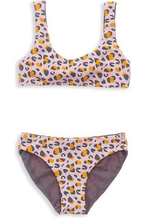 Snapper Rock Girl's Leopard Love Reversible Surf Bow Bikini - - Size 14