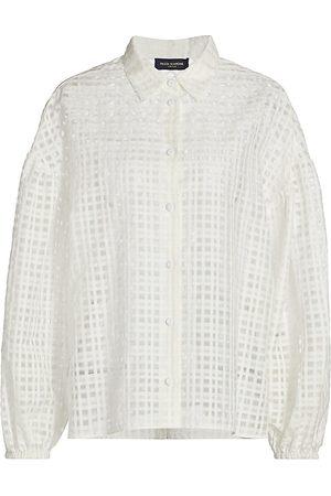 PIAZZA SEMPIONE Women's Tonal Checked Silk & Cotton Organza Blouse - - Size 42 (6)
