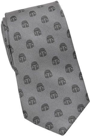 Cufflinks, Inc. Men Neckties - Men's Star Wars Mandalorian Helmet Silk Tie - Grey