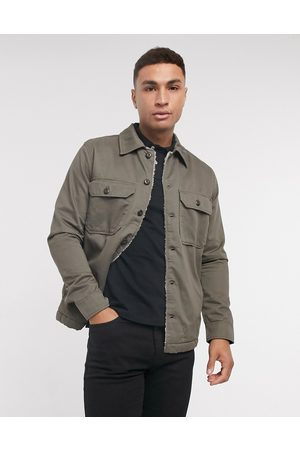 Selected Overshirt jacket with sherpa lining in khaki