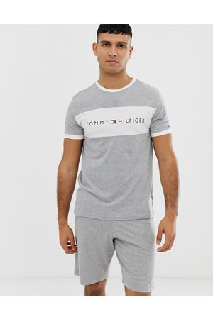 Tommy Hilfiger Crew neck lounge t-shirt with contrast chest panel and logo in