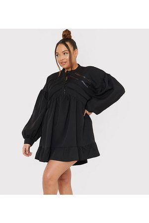 In The Style Women Casual Dresses - X Lorna Luxe volume sleeve button front mini smock dress in