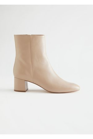 & OTHER STORIES Women Heeled Boots - Almond Toe Heeled Leather Boots