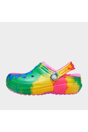 Crocs Big Kids' Classic Lined Tie-Dye Graphic Clog Shoes in Size 4.0 Fleece