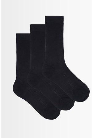 Raey Women Socks - Pack Of Three Ribbed Silk Socks - Womens - Navy
