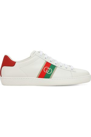 Gucci 15mm Ace Leather Sneakers W/ Gg