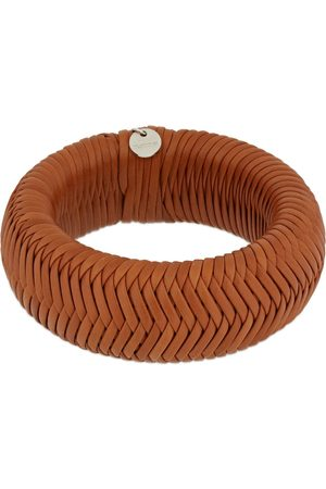 Jil Sander Women Bracelets - Woven Leather Cuff Bracelet