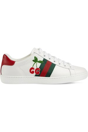 Gucci 20mm Ace Leather Sneakers W/ Cherry