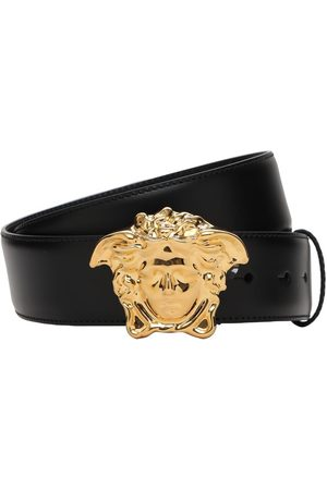 VERSACE 40mm Leather Belt W/ Medusa Buckle