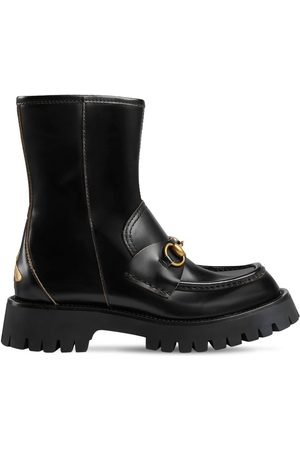 Gucci 25mm Leather Ankle Boots W/ Horsebit