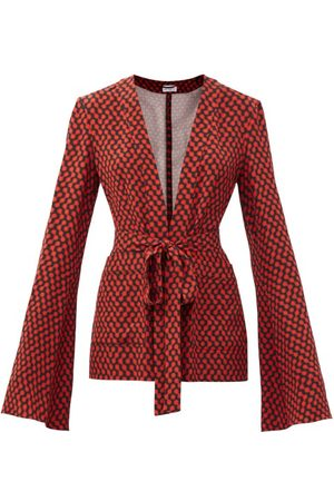 Raey Bell-sleeve Belted Polka-dot Silk Pyjama Jacket - Womens - Print