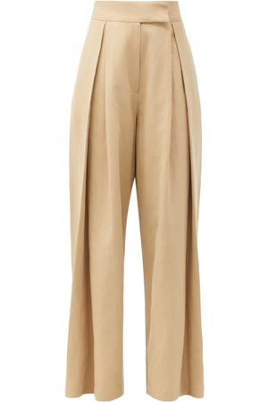 Raey Pleated-front Wide-leg Cotton-blend Trousers - Womens