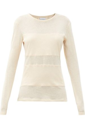 Raey Double-panel Long-sleeved Cotton-blend T-shirt - Womens - Pale