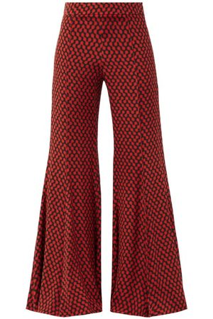 Raey Kick-flare Polka-dot Silk Trousers - Womens - Print