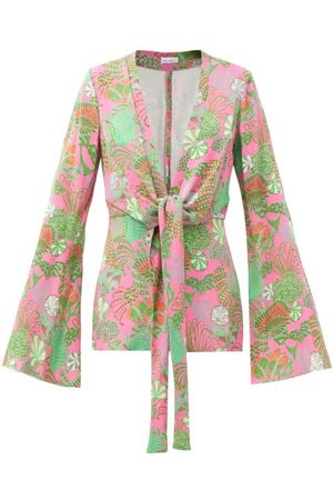 Raey Knot-front Psychedelic Floral-print Pyjama Jacket - Womens - Multi