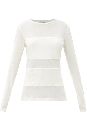 Raey Double-panel Cotton-blend Long-sleeved T-shirt - Womens - Ivory