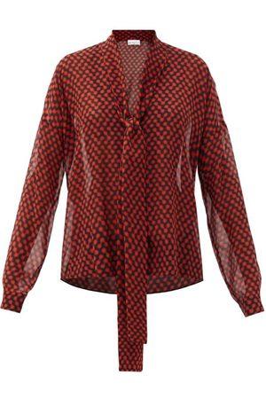 Women Blouses - Raey - Pussy-bow Polka-dot Silk Crepe De Chine Blouse - Womens - Print