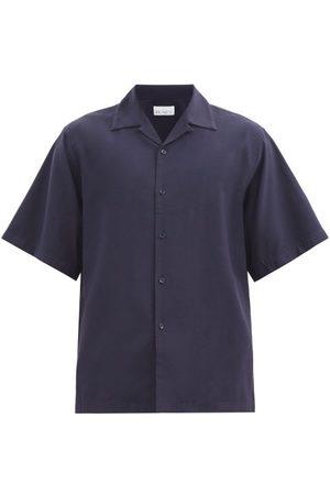 Raey Camp-collar Crepe Shirt - Mens - Navy
