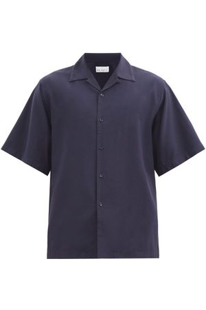Raey Men Short sleeves - Camp-collar Crepe Shirt - Mens - Navy
