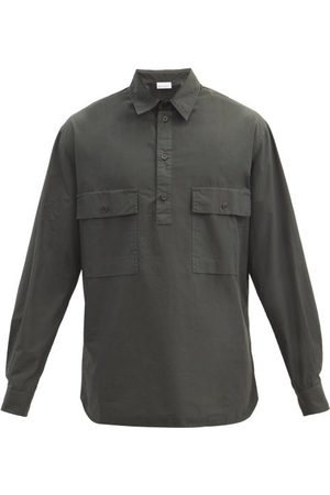 Raey Half-placket Patch-pocket Cotton Shirt - Mens - Dark