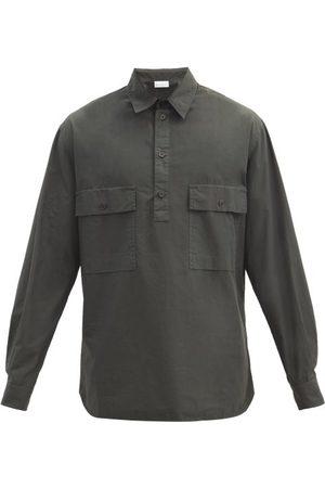 Raey Men Shirts - Half-placket Patch-pocket Cotton Shirt - Mens - Dark