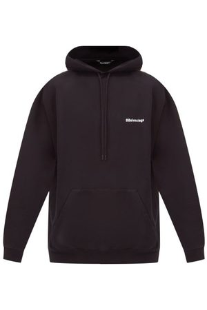 Balenciaga Logo-embroidered Cotton-jersey Hooded Sweatshirt - Mens