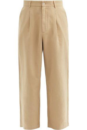 Raey Men Wide Leg Pants - Cotton And Linen-blend Wide-leg Trousers - Mens