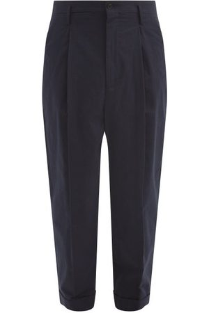 Raey Men Pants - Exaggerated Tapered-leg Cotton Trousers - Mens - Navy