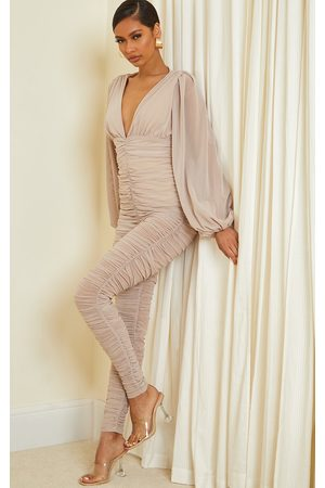 PRETTYLITTLETHING Women Jumpsuits - Stone Ruched Mesh Balloon Sleeve Plunge Jumpsuit