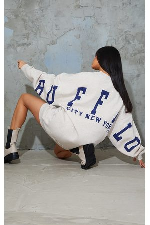 PRETTYLITTLETHING Oatmeal Buffalo New York Slogan Sweat Jumper Dress