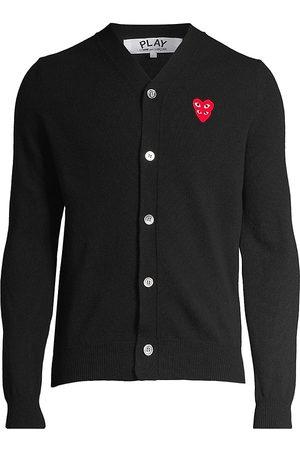 Comme des Garçons Men's Play Double Heart Wool Cardigan - - Size Small
