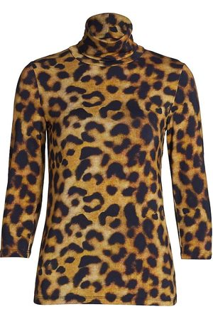 L'Agence Women's Aja Leopard Turtleneck - - Size Medium