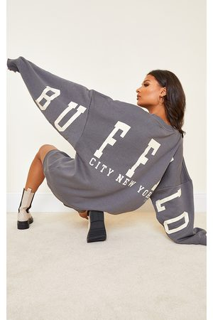 PRETTYLITTLETHING Charcoal Buffalo New York Slogan Sweat Sweater Dress